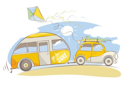 Viaje de verano en una casa sobre ruedas / coche retro amarillo con tablas de surf en la playa, ilustración vectorial