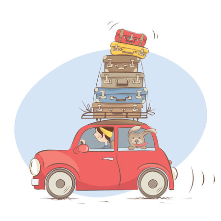 On a journey with a friend and all luggage  Girl goes on a journey with a dog , funny vector illustration Illustration