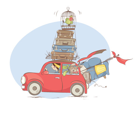 Moving to a new home / Girl is transporting things and pets in a small car, vector illustration
