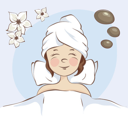 Girl on the SPA / Funny vector illustration, young woman on SPA, top view