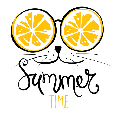d638ee14e83e Cat in sunglasses Funny summer hand drawing calligraphy
