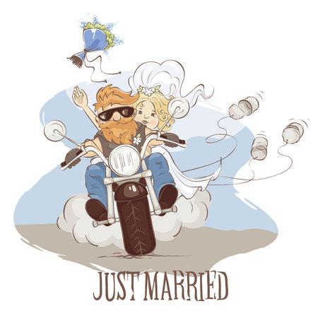 Motociclistas de boda / Ilustración vectorial, postal - recién casados en una motocicleta