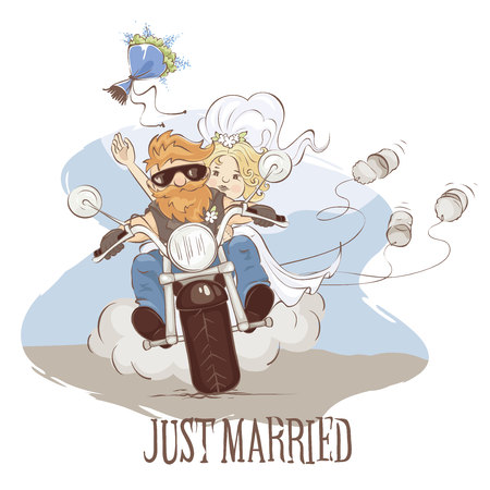 Wedding bikers / Vector illustration, postcard -- just married on a motorcycle