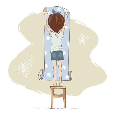 Wallpaper gluing  Girl doing repairs, funny vector illustration Иллюстрация