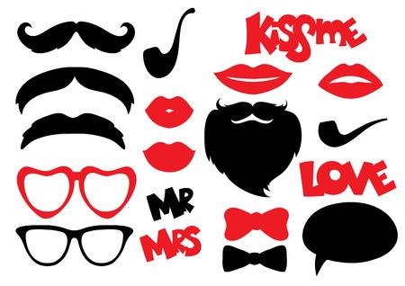 Ensemble de lèvres et moustache / Ensemble d'illustrations vectorielles pour photo lors de fêtes