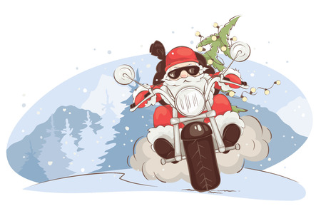 Christmas card -- Santa biker  Vector illustration, Santa Claus on chopper with gifts and trees