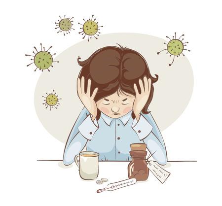 The girl got sick / The beginning of a virus attack, headache, vector illustration.