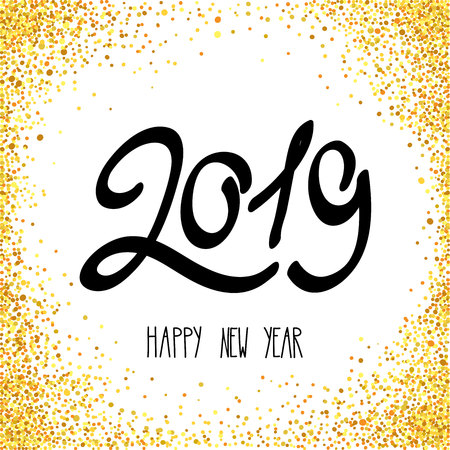Happy New Year 2019  Vector illustration, holiday background with a metallic confetti.