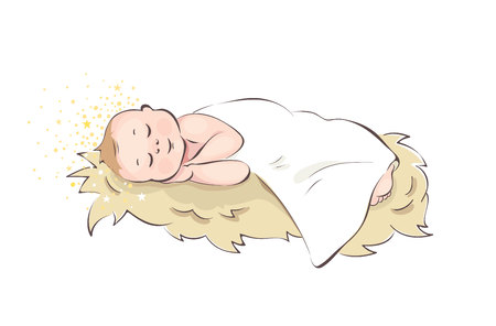 Baby Jesus / Baby sleeping in the manger, vector illustration Illustration