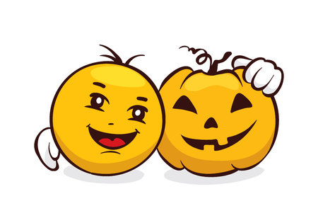 Funny Emoji set -- halloween / Vector illustration, smiley face and pumpkin, funny characters
