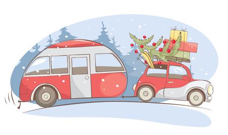 Weihnachtsferien, Winterurlaub / Lustiges Retro-Auto mit Wohnmobil geht auf Winterreise, Vektorillustration Vektorgrafik