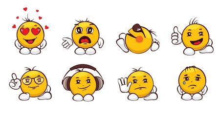 Emoji set / Vector illustration, emotions, funny characters
