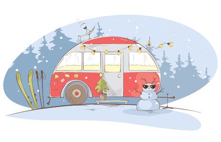 Winterreisen in einem Haus auf Rädern / Lustiges rotes Haus auf Rädern im Weihnachtswald, Vektorillustration Vektorgrafik
