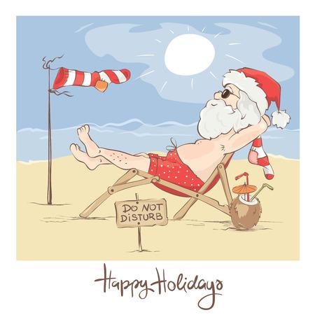 Santa Claus beach vacation / Funny Christmas card, do not disturb - Santa has a rest, vector illustration Illusztráció