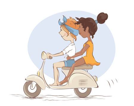 Girls on scooter  White and black girlfriends went on a trip, vector illustration