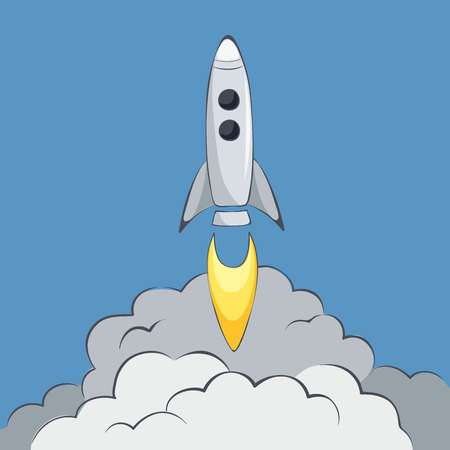 Start up  Vector illustration, Space rocket launch
