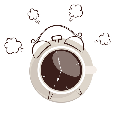 Morning coffee -- alarm clock  Graphic vector illustration, sketch