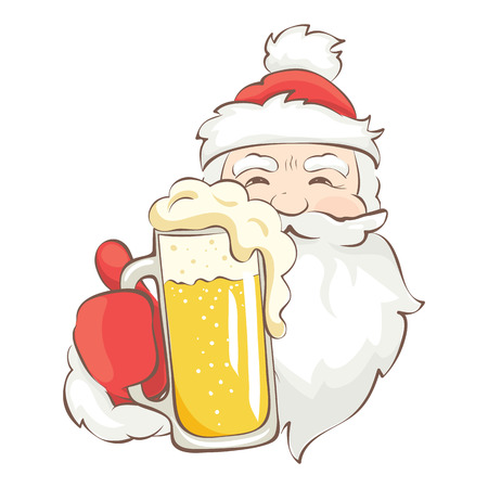 Funny Santa Claus with beer / Vector christmas illustration for bar or pub