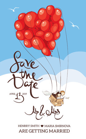 Wedding invitation. Bride and groom are leaving on a journey in a balloon.