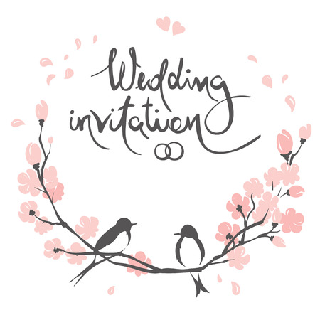 Wedding invitation, crad. Vector illustration, swallows on a flowering cherry branch