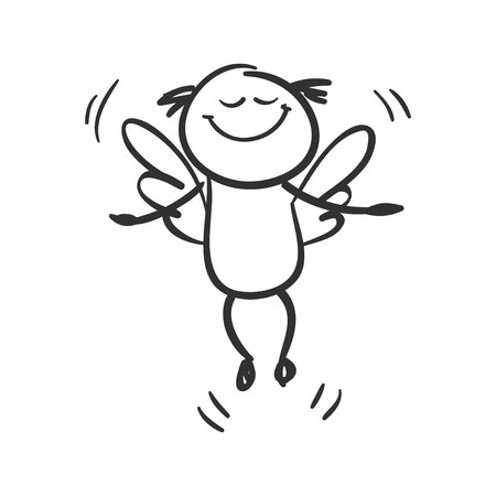 Angel. Funny little man with wings, very happy, just flying., vector illustration.