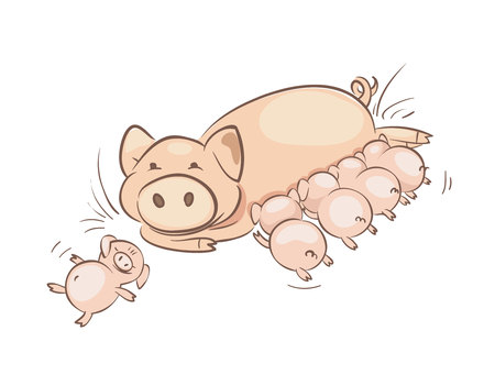 Pig family. Vector illustration, Big sow feeding cubs.