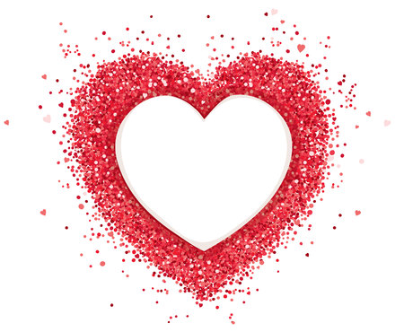 Red heart  Vector illustration, background with abstract heart, glitter, confetti