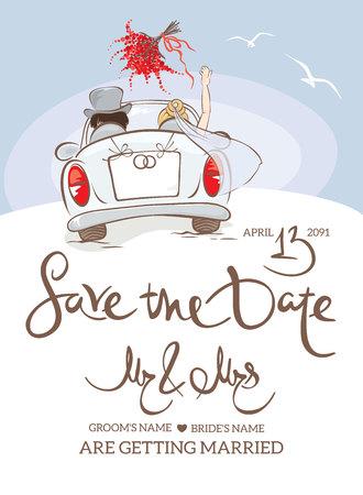 Invitation de mariage. Illustration vectorielle, carte postale - mariée et le marié en voiture