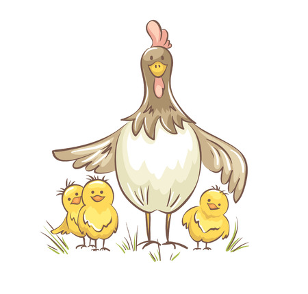 Chicken family. Vector illustration, Funny chicken with chickens  イラスト・ベクター素材