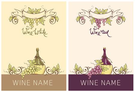 Label for red and white wine -- set. Vector illustration, floral design element