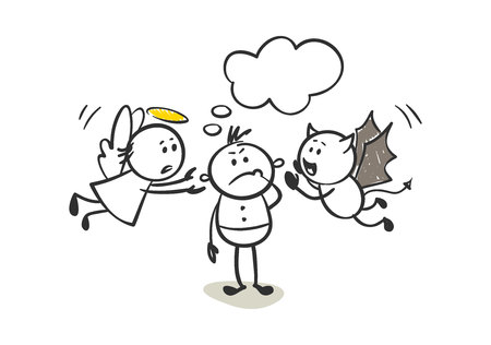 Angel and the devil give advice. Funny little man, vector illustration.