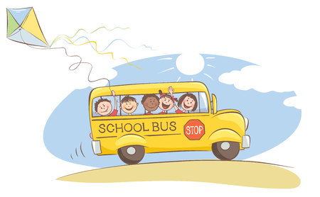 Cheerful kids on the school bus  Vector illustration on a theme back to school Ilustração