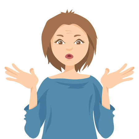 Wonder. Vector illustration, young woman throws up his hands from surprise.