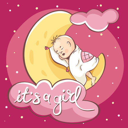 Ð¡ard -- it's a girl. Vector illustration, baby sleeping on the moon