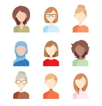 Avatar - ragazze. Set di illustrazioni vettoriali di volti di donne.