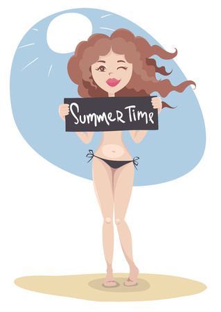 Summer time! Vector illustration, young woman covering her breasts with a black sign