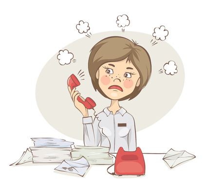 A disgruntled customer. Young woman takes a phone call, vector illustration. Illustration