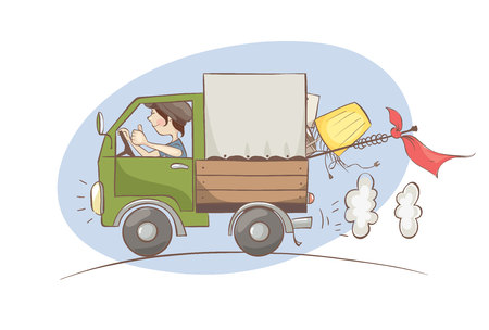 Moving  Vector illustration, transportation, Cargo Delivery.