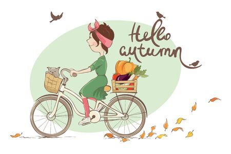 Hello autumn  Vector illustration, young woman and autumn shopping