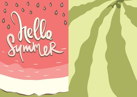 Hello summer banners / Set of watermelon labels, vector illustrations Stok Fotoğraf - 131957686