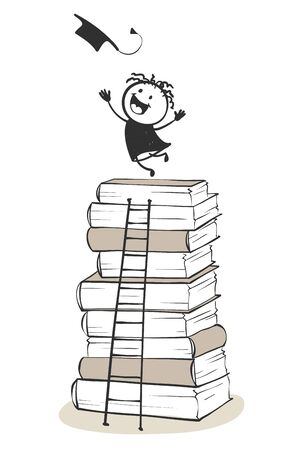 Happy graduate. Funny man rejoices graduating from school on a stack of books, climbed the stairs, vector illustration. Çizim