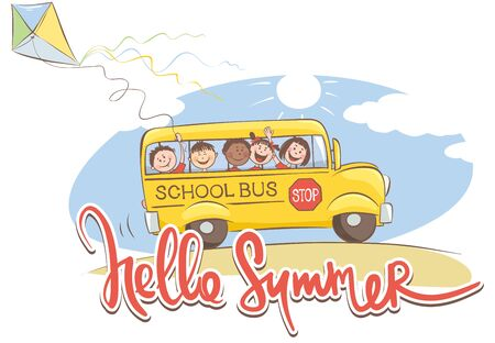 Cheerful kids on the school bus  Vector illustration on a theme summer time