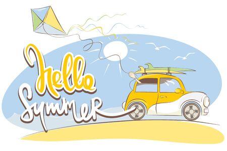 Ciao estate / divertente auto retrò gialla con tavole da surf, illustrazione vettoriale