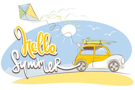 Hello Summer  Funny yellow retro car with surfboards, vector illustration