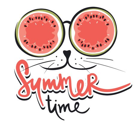 Cat in sunglasses  Funny summer hand drawing calligraphy, vector illustration Çizim