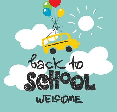 Back to school  Vector illustration with school bus and balls on sky background
