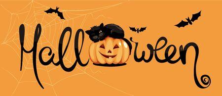 Black cat on pumpkin  Funny vector illustration, Halloween narrow banner 向量圖像
