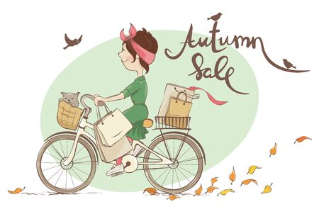 Autumn Sale  Vector illustration, young woman and autumn shopping Ilustrace