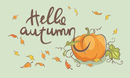Hello autumn  Vector illustration, pumpkin and flying leaves