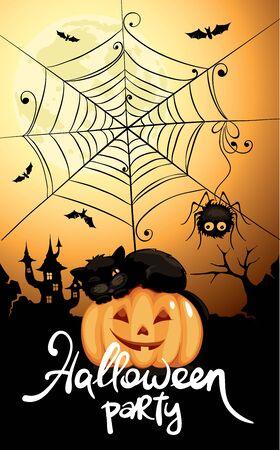 Halloween party invitation  Funny vector illustration, Halloween banner 向量圖像
